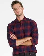 Lucky Brand Men's Long Sleeve Stretch Plaid Flannel Button Down Shirt-Blue