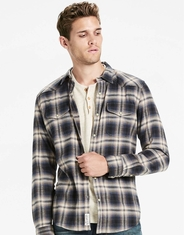 Lucky Brand Men's Long Sleeve Stretch Plaid Snap Shirt - Blue
