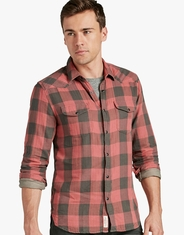 Lucky Brand Men's Long Sleeve Western Plaid Snap Shirt - Red (Closeout)