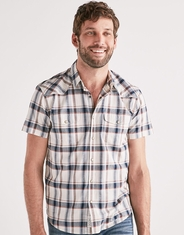 Lucky Brand Men's Short Sleeve Plaid Snap Shirt- Multi