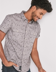 Lucky Brand Men's Short Sleeve Stretch Print Button Down Shirt - Grey