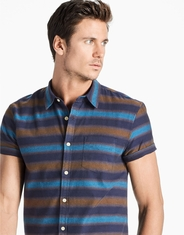 Lucky Brand Men's Short Sleeve Stripe Button Down Shirt- Blue