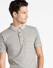 Lucky Brand Men's Short Sleeve Stripe Button Polo Shirt- Grey