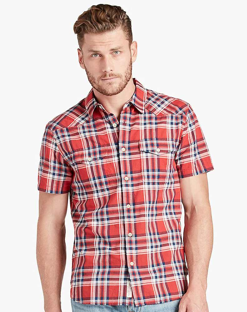 Lucky Brand Men's Short Sleeve Western Plaid Button Down Shirt - Red