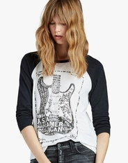 Lucky Brand Women's 3/4 Sleeeve Fender Print Tee Shirt - White