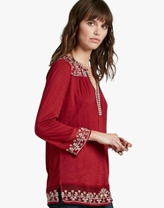 Lucky Brand Women's 3/4 Sleeve Embroidered Top - Red (Closeout)