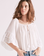 Lucky Brand Women's 3/4 Sleeve Lace Tie Front Top - White