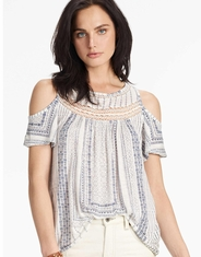Lucky Brand Women's Cold Shoulder Short Sleeve Print Top - White (Closeout)
