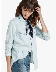 Lucky Brand Women's Long Sleeve Chambray Snap Shirt - Bleach