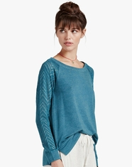 Lucky Brand Women's Long Sleeve Drapey Top-Ocean Heather (Closeout)