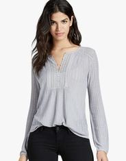 Lucky Brand Women's Long Sleeve Embroidered Button Front Shirt - Grey