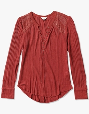 Lucky Brand Women's Long Sleeve Embroidered Button Front Top - Red