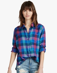 Lucky Brand Women's Long Sleeve Plaid Button Down Shirt - Blue