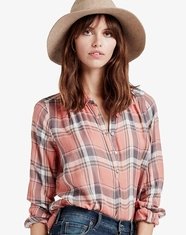 Lucky Brand Women's Long Sleeve Plaid Button Down Shirt - Coral (Closeout)