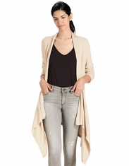 Lucky Brand Women's Long Sleeve Solid Open Front Cardigan-Natural