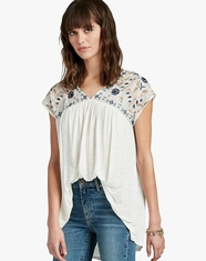 Lucky Brand Women's Short Sleeve Embroidered Top - White (Closeout)