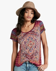 Lucky Brand Women's Short Sleeve Print Top - Purple