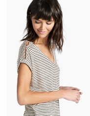 Lucky Brand Women's Short Sleeve Stripe Shirt - Natural (Closeout)