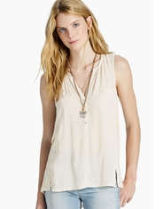 Lucky Brand Women's Sleeveless Button Shirt - Natural