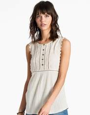 Lucky Brand Women's Sleeveless Embroidered Button Shirt - Natural (Closeout)