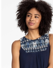 Lucky Brand Women's Sleeveless Embroidered Top - Navy