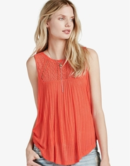 Lucky Brand Women's Sleeveless Embroidered Yoke Top - Red (Closeout)