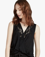 Lucky Brand Women's Sleeveless Lace Top - Black (Closeout)