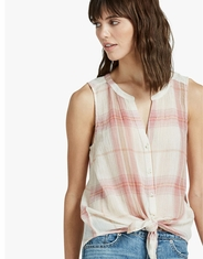 Lucky Brand Women's Sleeveless Plaid Button Down Shirt - Pink