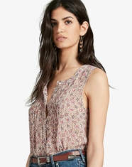 Lucky Brand Women's Sleeveless Print Button Down Top - Pink (Closeout)