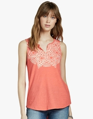 Lucky Brand Women's Sleeveless Print Shirt - Coral