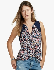 Lucky Brand Women's Sleeveless Print Shirt - Navy
