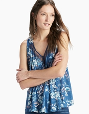 Lucky Brand Women's Sleeveless Printed Lace Shirt - Blue Multi (Closeout)