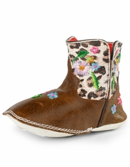 Macie Bean Infant's Floral Square Toe Boots - Brown