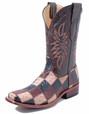 Corral Men's Smooth Ostrich Square Toe Patchwork Boots - Black/Brown/Tan