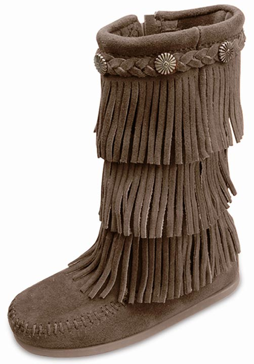 Minnetonka Kid's 3-Layer Fringe Side Zip Boots - Dusty Brown (Closeout)