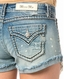 Miss Me Women's Lace Peekaboo Pocket Shorts - Light Wash