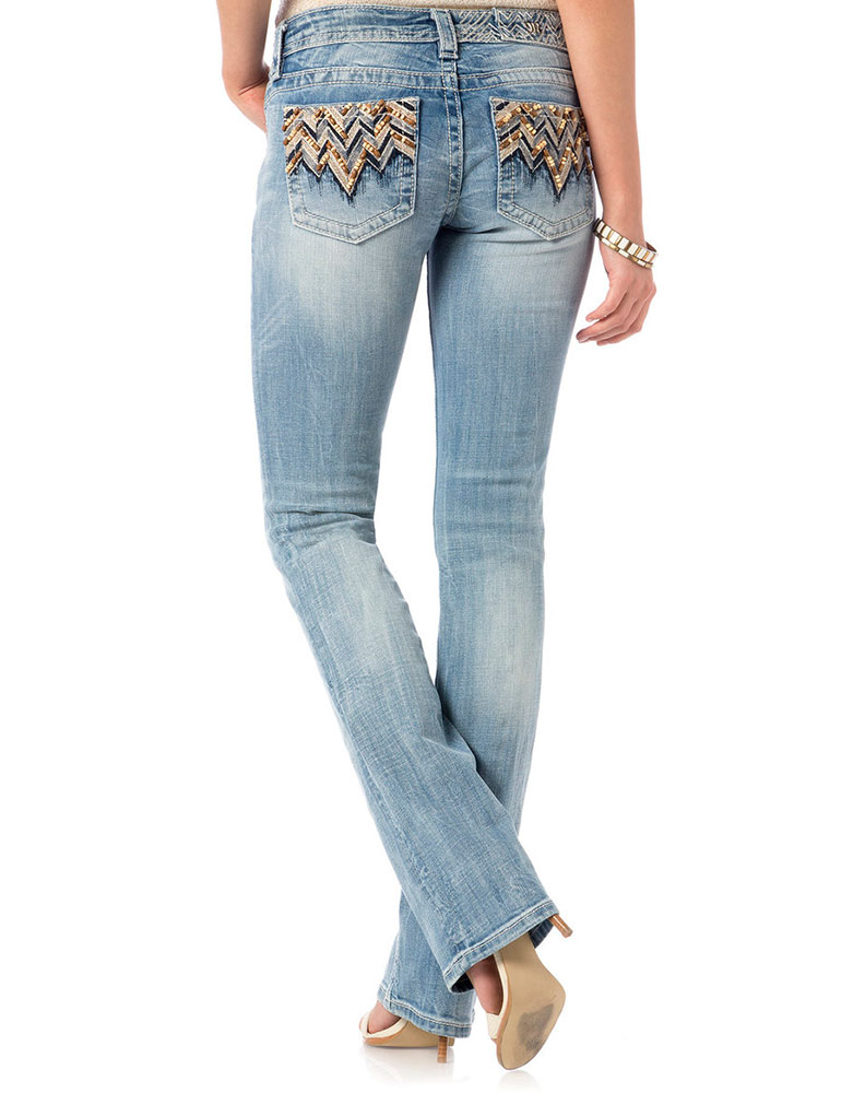 Miss Me Women's Low Rise Slim Boot Cut Jeans - Light Wash