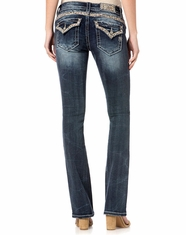Miss Me Women's Low Rise Slim Fit Boot Cut Jeans - Dark Wash (Closeout)