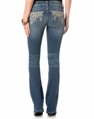 Miss Me Women's Mid Rise Flap Pocket Slim Boot Cut Jeans - Medium Wash (Closeout)