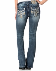 Miss Me Women's Mid Rise Slim Fit Boot Cut Jeans - Medium Wash (Closeout)