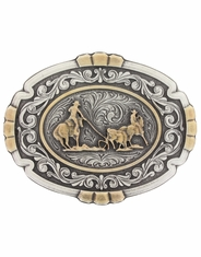 Montana Silversmiths Attitude Two Tone Team Roper Belt Buckle - Silver/Gold