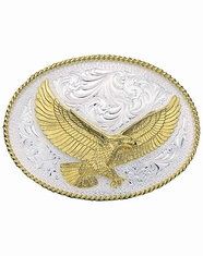 Montana Silversmiths Eagle Western Belt Buckle - Silver/Gold