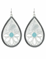 Montana Silversmiths Floral Teardrop Earrings- Silver