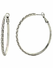 Montana Silversmiths Women's Attitude Patterned Hoop Earrings - Silver