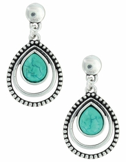 Montana Silversmiths Women's Attitude Patterned Teardrop Earrings - Silver/Turquoise