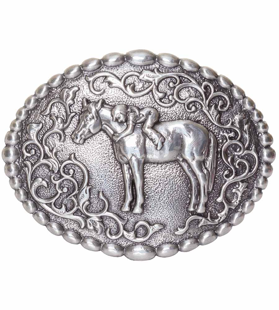 Nocona Kids First Love Belt Buckle - Silver