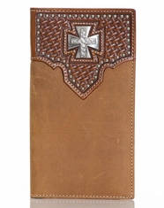 Nocona Men's Basket Weave Maltese Cross Rodeo Wallet - Brown