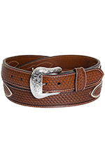 Nocona Mens Basket Weave Diamond Concho Belt - Natural