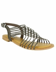 Not Rated Women's Iron Gate Rhinestone Sandal - Taupe