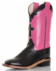 Old West Children's Broad Square Toe Boots - Black/Pink